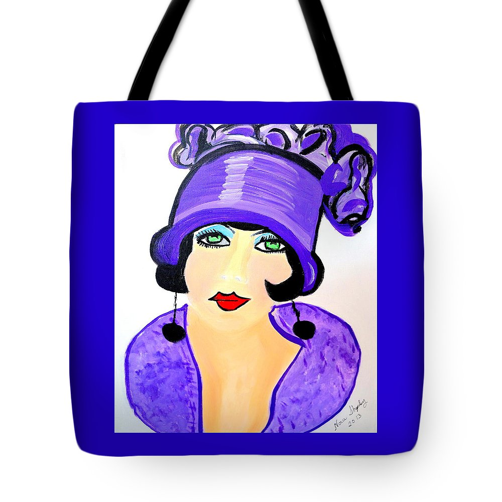 Art Deco Milly Tote Bag featuring the painting Art Deco Milly by Nora Shepley