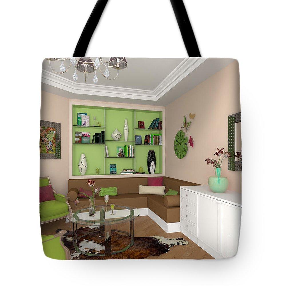 Yakubovich Tote Bag featuring the painting My Art In The Interior Decoration - Elena Yakubovich by Elena Yakubovich