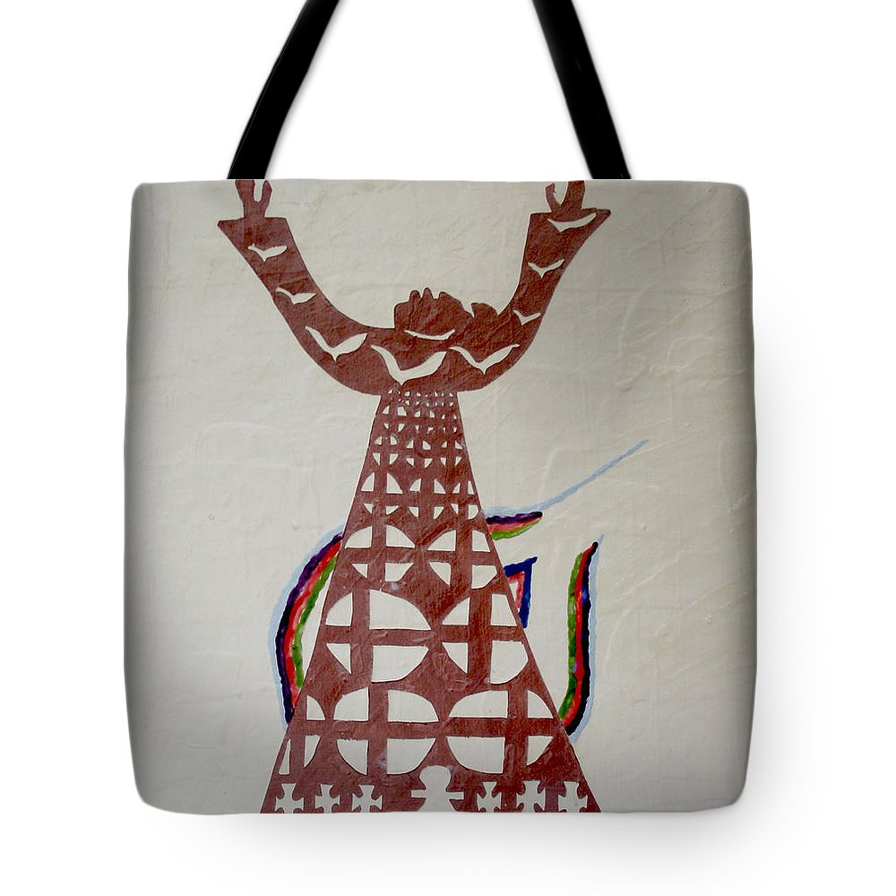 Jesus Tote Bag featuring the painting The Wise Virgin by Gloria Ssali