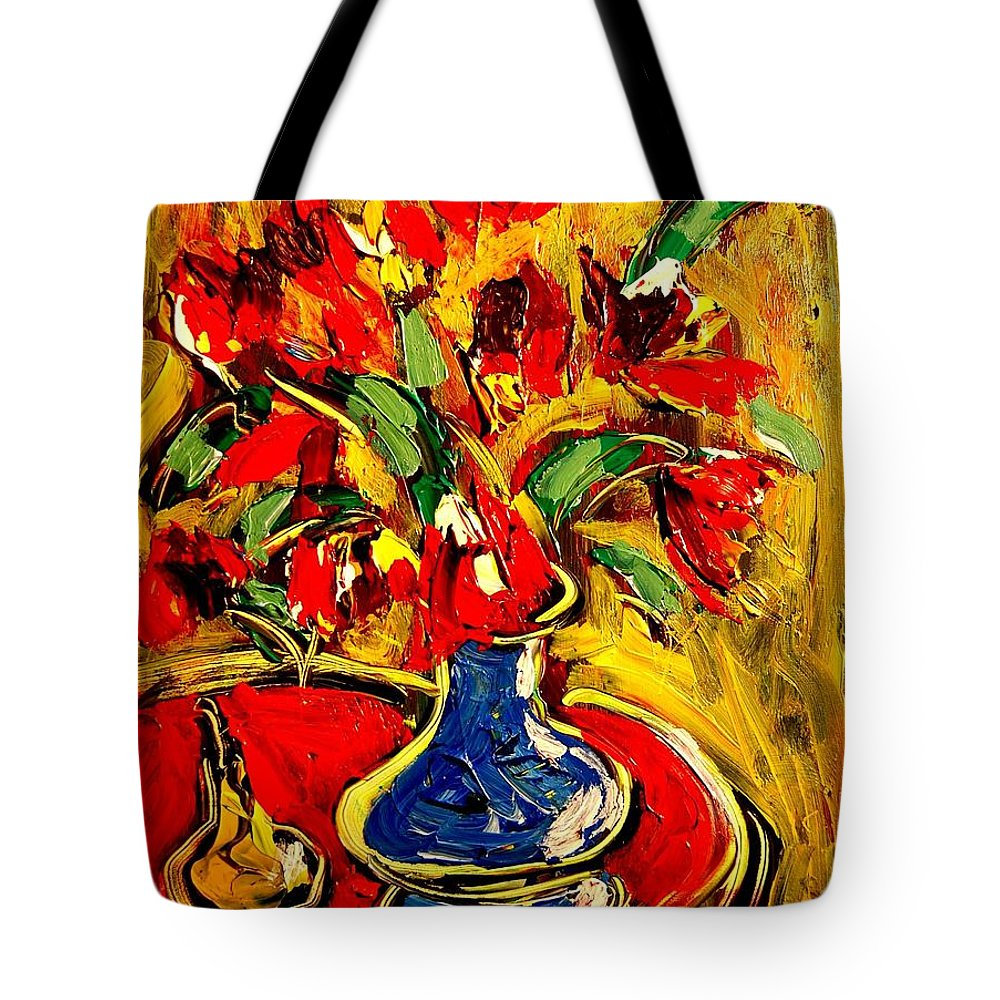 Tote Bag featuring the painting Flowers by Mark Kazav