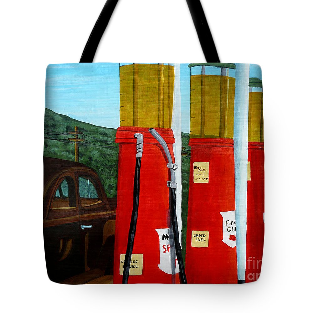 Filling Station Tote Bag featuring the painting 15 Cents A Gallon by Anthony Dunphy
