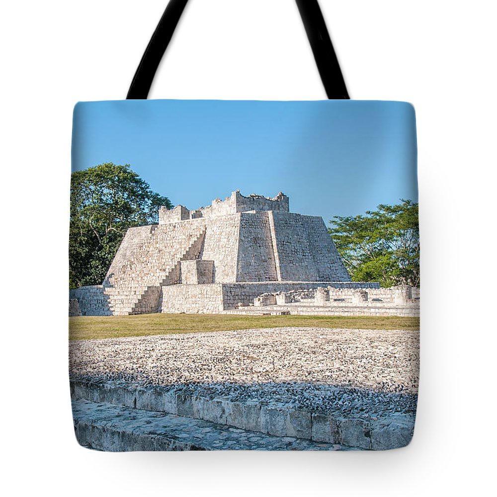 Mexico Campeche Tote Bag featuring the digital art Edzna In Campeche by Carol Ailles