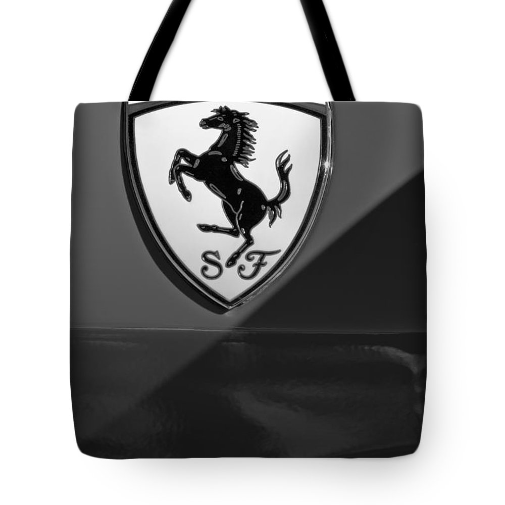 Ferrari Emblem Tote Bag featuring the photograph Ferrari Emblem by Jill Reger