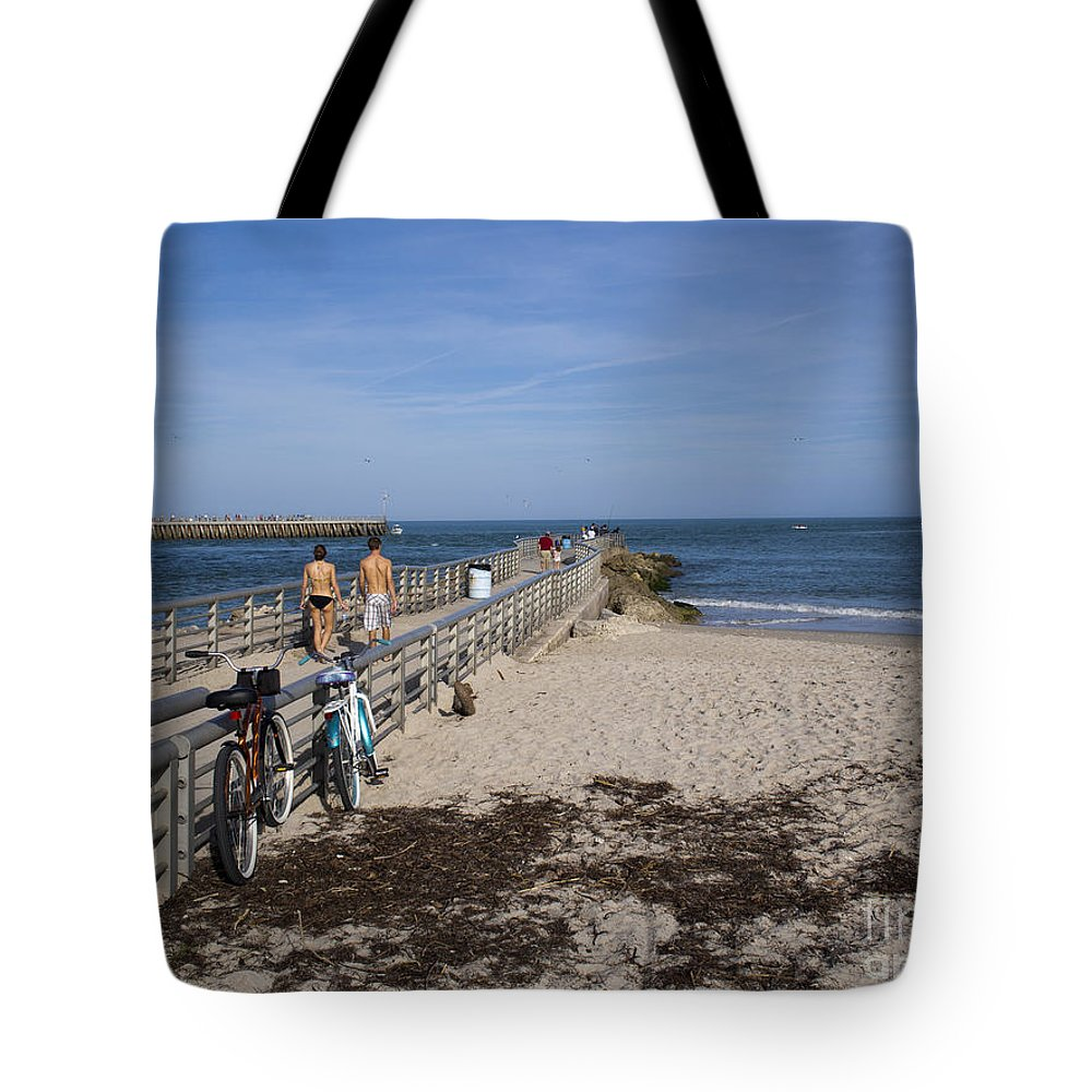 Florida Tote Bag featuring the photograph Fishing At Sebastian Inlet In Florida by Allan Hughes