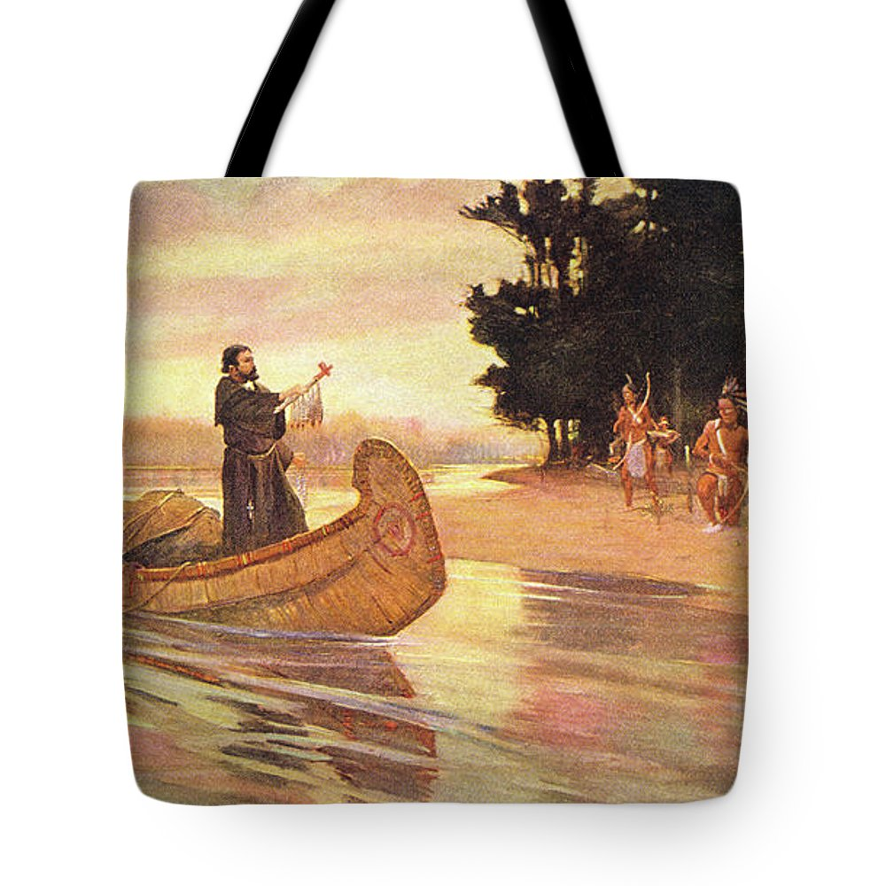 Horizontal Tote Bag featuring the painting 1600s 1600s Father Jacques Marquette by Vintage Images