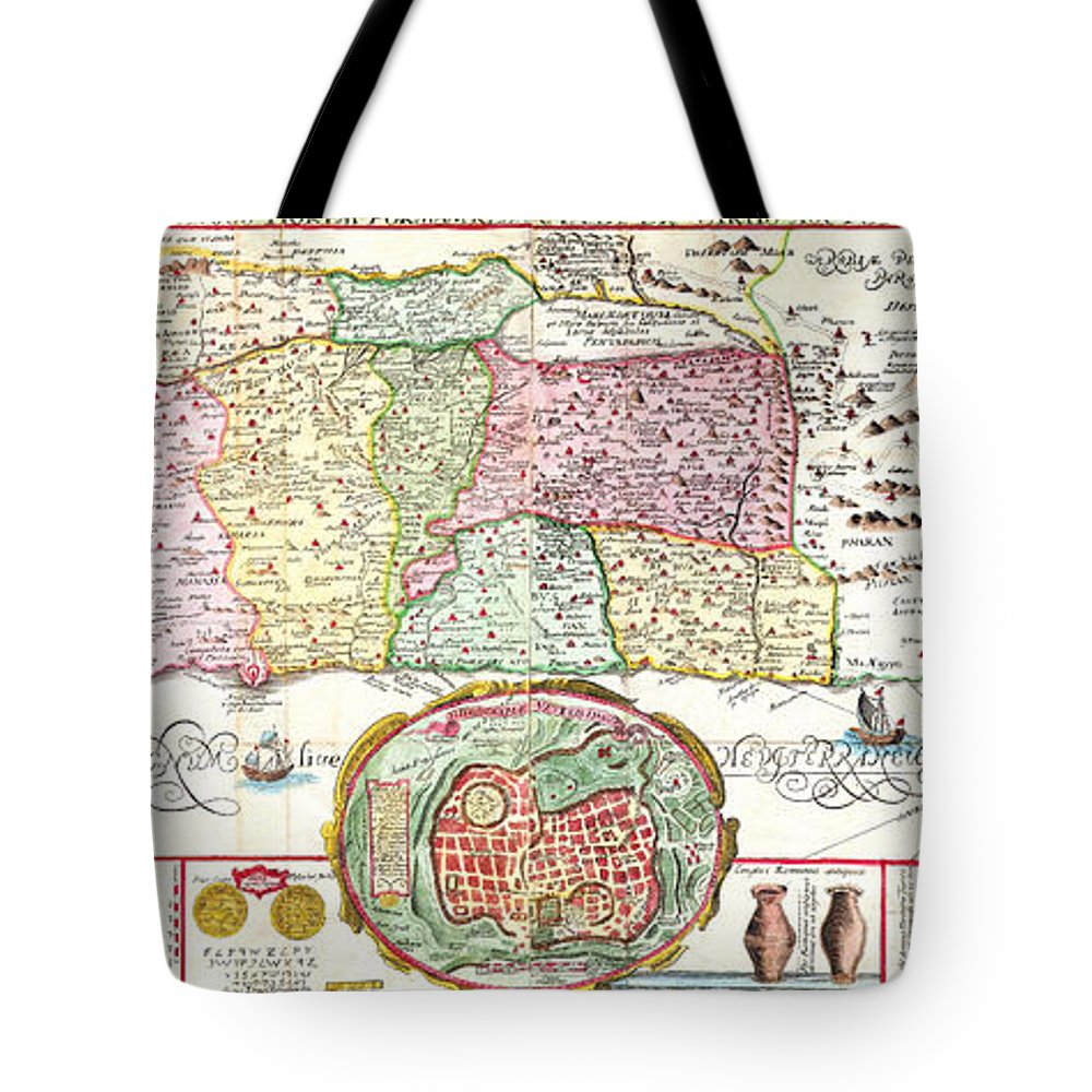1632 Tirinus Map Of The Holy Land Israel W Numerous Insetsgeographicus Holyland Tirinus 1632 Tote Bag featuring the painting 1632 Tirinus Map Of The Holy Land Israel W Numerous Insetsgeographicus Holyland Tirinus 1632 by MotionAge Designs