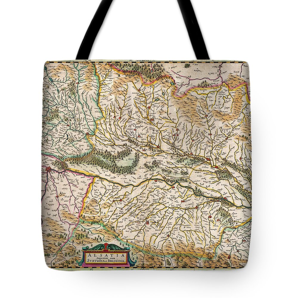 1644 Jansson Map Of Alsace Basel And Strasbourg Geographicus Alsatiasuperior Jansson 1644 Tote Bag featuring the painting 1644 Jansson Map Of Alsace Basel And Strasbourg Geographicus Alsatiasuperior Jansson 1644 by MotionAge Designs