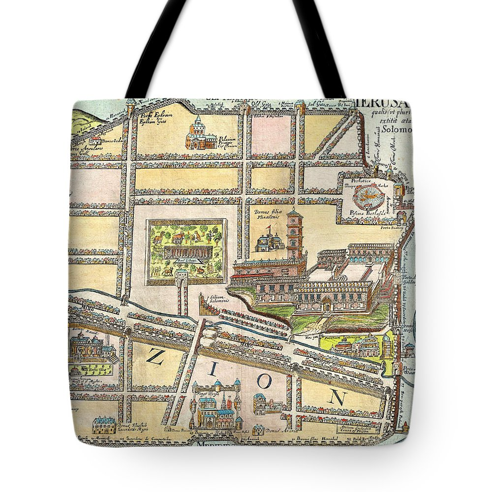 1650 Fuller Map Of Jerusalem Israel Palestine Holy Land Geographicus Jerusalem Fuller 1650 Tote Bag featuring the painting 1650 Fuller Map Of Jerusalem Israel Palestine Holy Land Geographicus Jerusalem Fuller 1650 by MotionAge Designs
