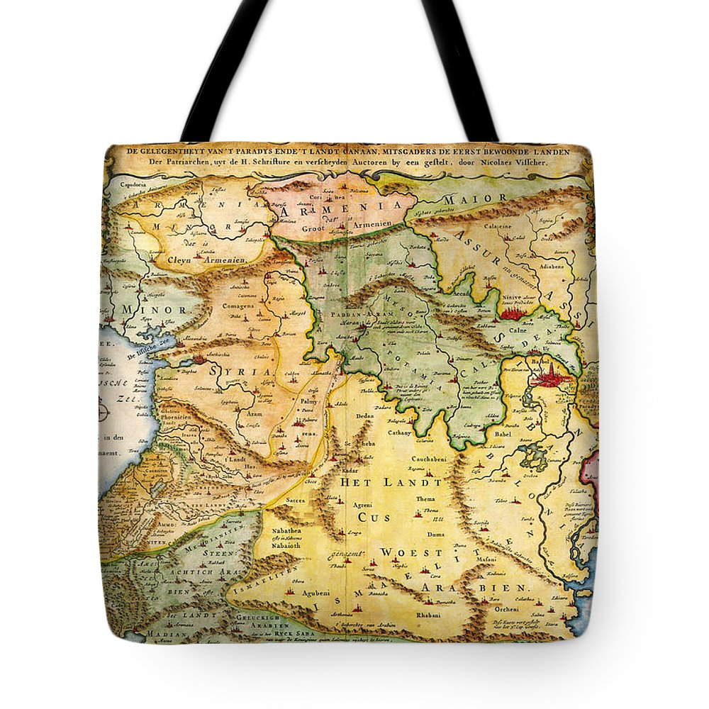1657 Visscher Map Of The Holy Land Or The Earthly Paradise Geographicus Gelengentheyt Visscher 1657 Tote Bag featuring the painting 1657 Visscher Map Of The Holy Land Or The Earthly Paradise Geographicus Gelengentheyt Visscher 1657 by MotionAge Designs