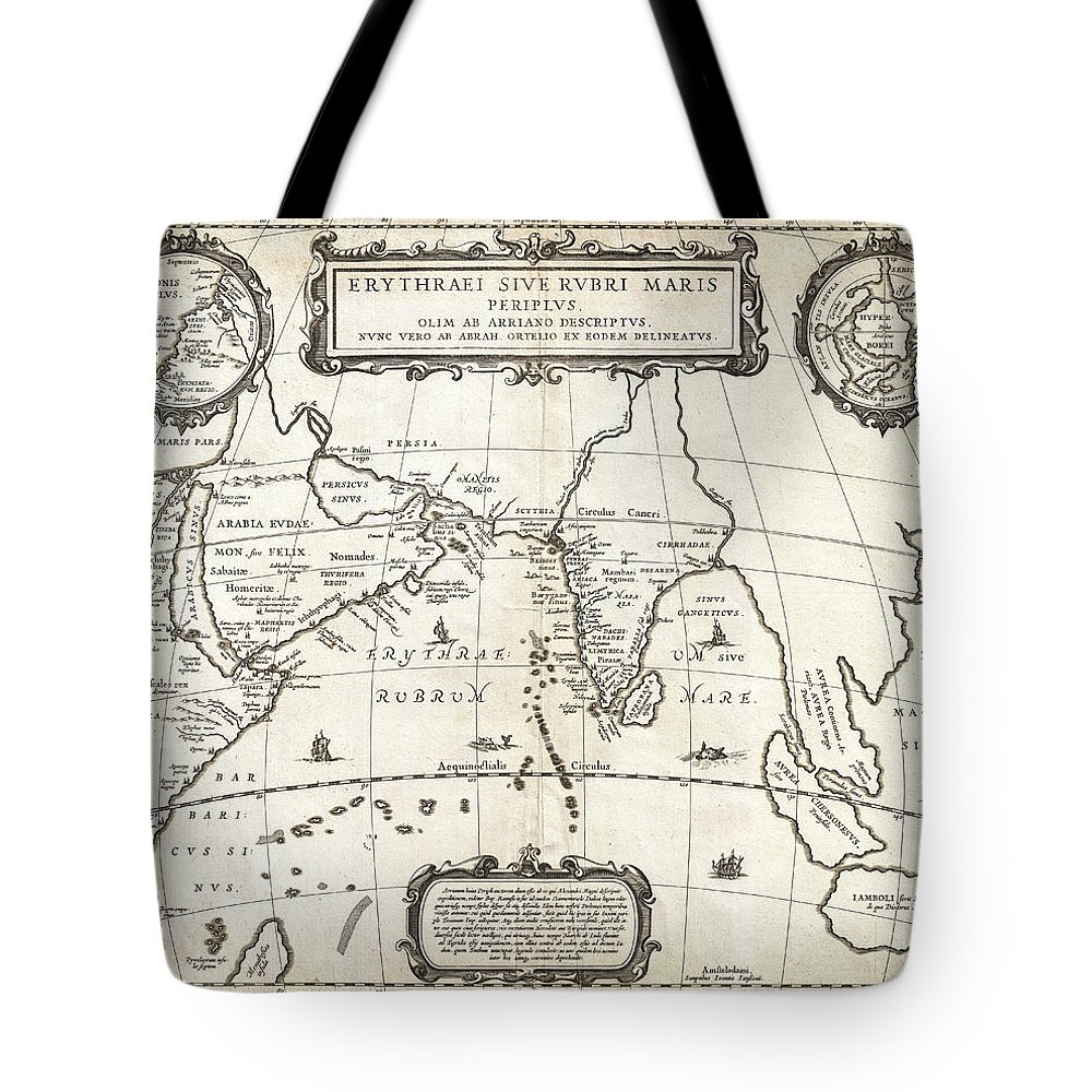 1658 Jansson Map Of The Indian Ocean Erythrean Sea In Antiquity Geographicus Erythraeansea Jansson 1658 Tote Bag featuring the painting 1658 Jansson Map Of The Indian Ocean Erythrean Sea In Antiquity Geographicus Erythraeansea Jansson 1 by MotionAge Designs