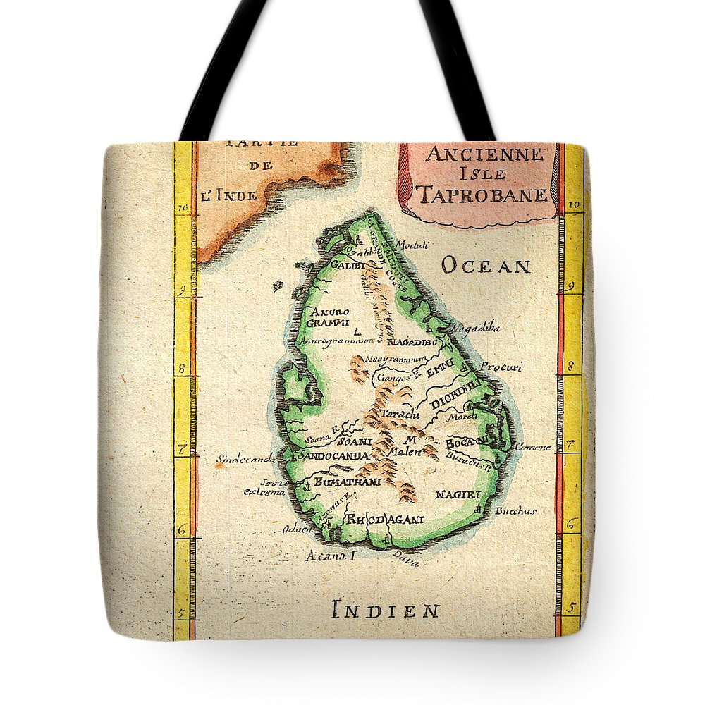 1686 Mallet Map Of Ceylon Or Sri Lanka Taprobane Geographicus Taprobane Mallet 1686 Tote Bag featuring the painting 1686 Mallet Map Of Ceylon Or Sri Lanka Taprobane Geographicus Taprobane Mallet 1686 by MotionAge Designs