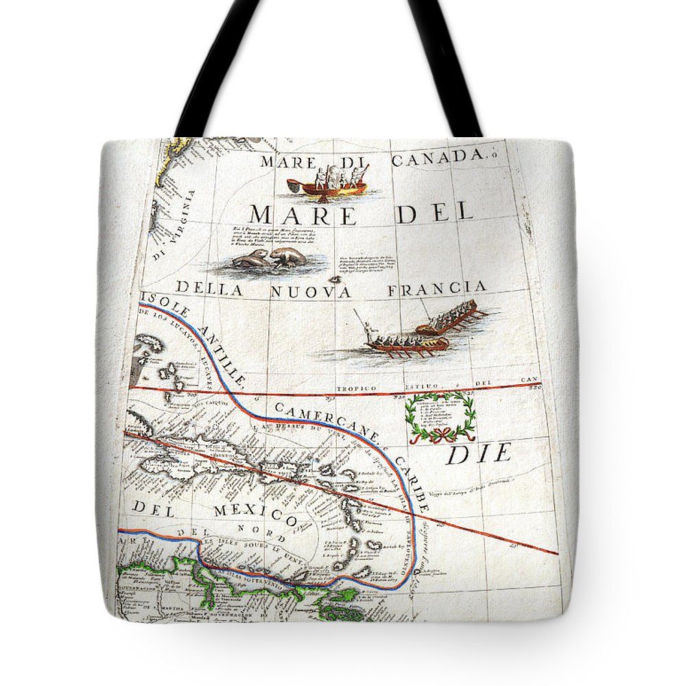 1688 Coronelli Globe Gore Map Of Ne North America The West Indies And Ne South America Geographicus Neamerica Gore Coronelli 1688 Tote Bag featuring the painting 1688 Coronelli Globe Gore Map Of Ne North America The West Indies And Ne South America Geographicus by MotionAge Designs