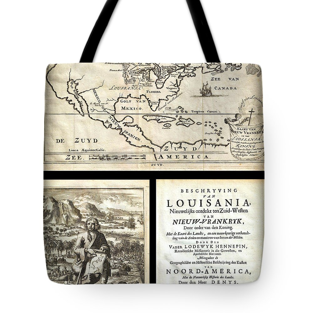 1688 Hennepin First Book And Map Of North America First Printed Map To Name Louisiana Geographicus Nieuwvrankryk Hennepin1688 Tote Bag featuring the painting 1688 Hennepin First Book And Map Of North America First Printed Map To Name Louisiana Geographicus N by MotionAge Designs
