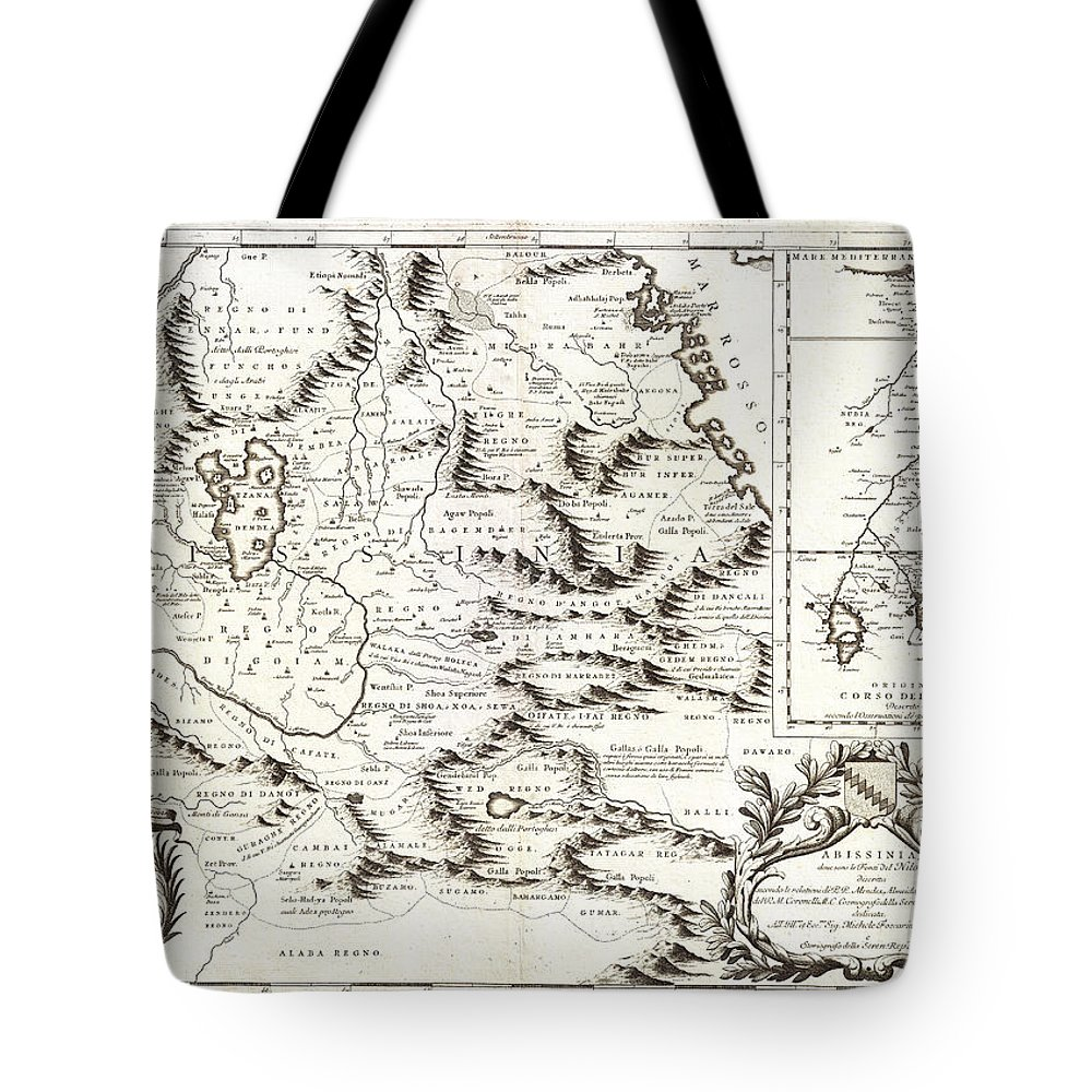1690 Coronelli Map Of Ethiopia Abyssinia And The Source Of The Blue Nile Geographicus Abissinia Coronelli 1690 Tote Bag featuring the painting 1690 Coronelli Map Of Ethiopia Abyssinia And The Source Of The Blue Nile Geographicus Abissinia Cor by MotionAge Designs
