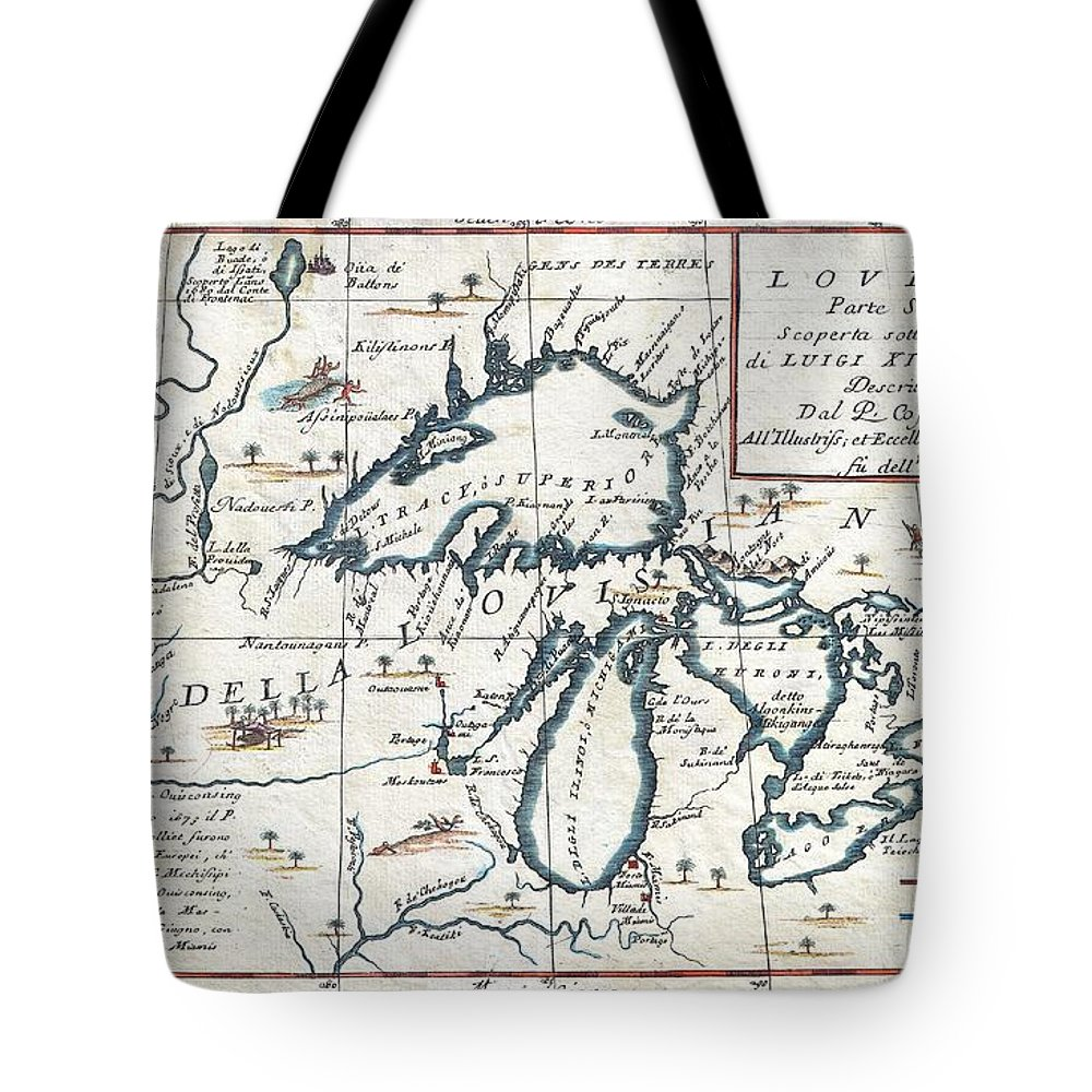 1696 Coronelli Map Of The Great Lakes Most Accurate Map Of The Great Lakes In The 17th Century Geographicus Lalouisiana Coronelli 1695 Tote Bag featuring the painting 1696 Coronelli Map Of The Great Lakes Most Accurate Map Of The Great Lakes In The 17th Century Geogr by MotionAge Designs