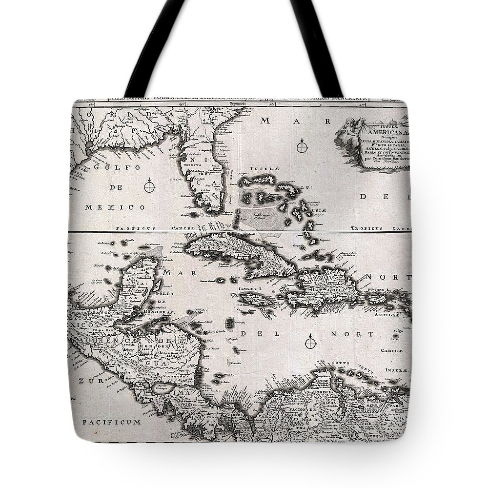 1696 Danckerts Map Of Florida The West Indies And The Caribbean Geographicus Westindies Dankerts 1696 Tote Bag featuring the painting 1696 Danckerts Map Of Florida The West Indies And The Caribbean Geographicus Westindies Dankerts 169 by MotionAge Designs