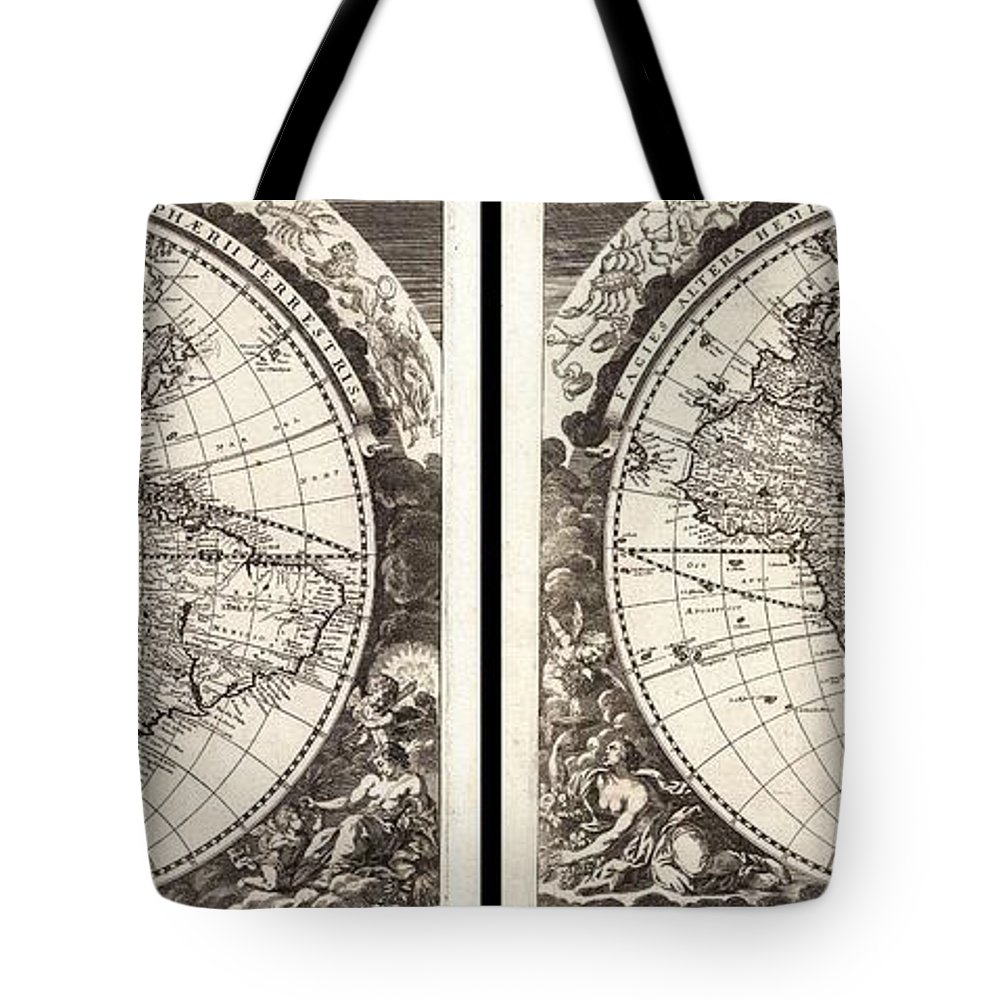 1696 Zahn Map Of The World In Two Hemispheres Geographicus World Zahn 1696 Tote Bag featuring the painting 1696 Zahn Map Of The World In Two Hemispheres Geographicus World Zahn 1696 by MotionAge Designs
