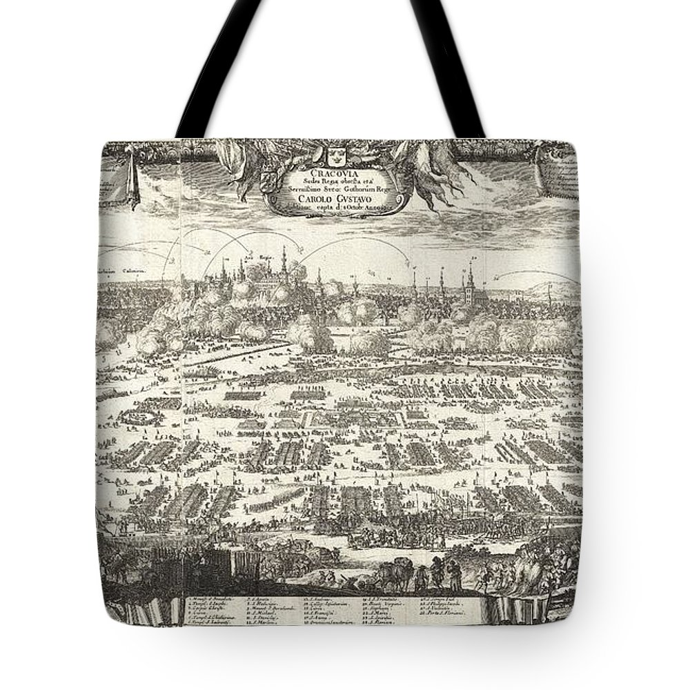 This Is A Rare 1697 View Of Kracow (cracow) Tote Bag featuring the photograph 1697 Pufendorf View Of Krakow Cracow Poland by Paul Fearn