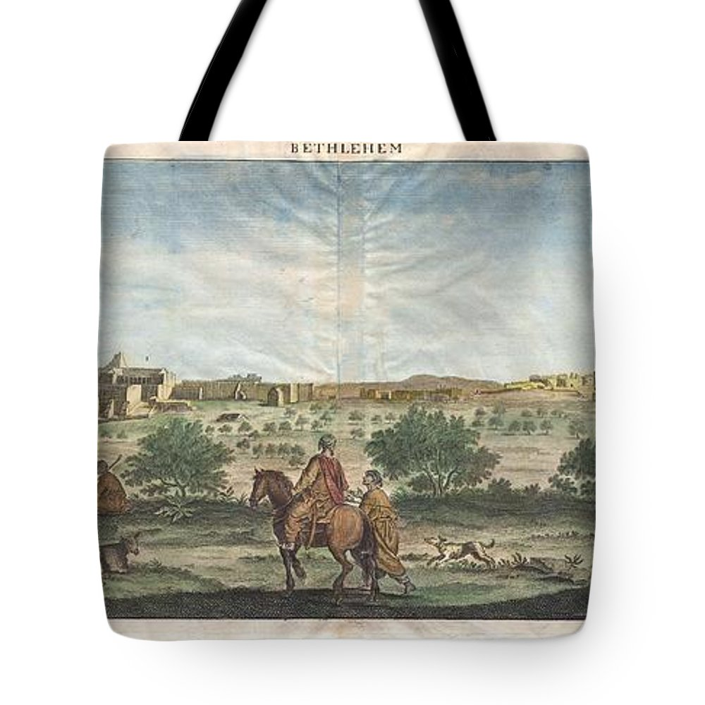 A Rare 1698 View Of Bethlehem By Dutch Artist Cornelius De Bruijin. Depicts The City As Well As The Nearby Herding Grounds. Arab Horsemen Tote Bag featuring the photograph 1698 De Bruijin View Of Bethlehem Palestine Israel Holy Land by Paul Fearn
