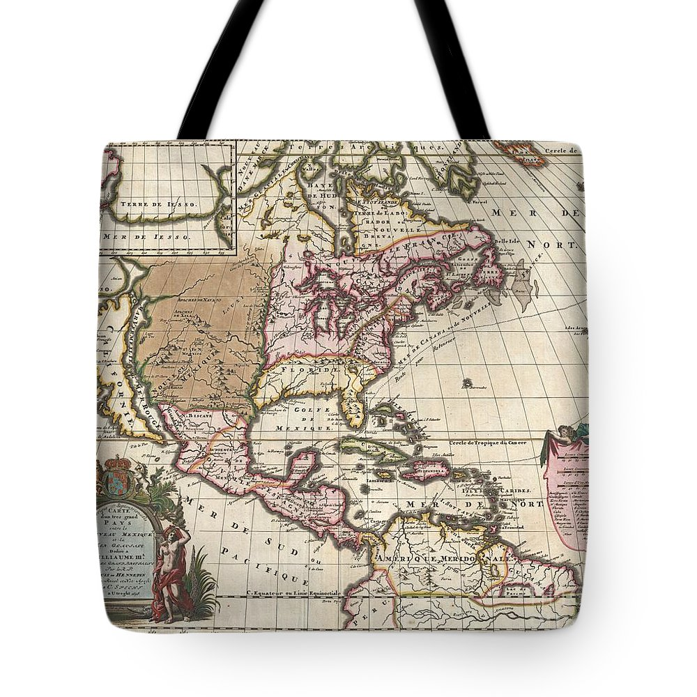 A Map That Fundamentally Impacted The Cartographic History Of America Tote Bag featuring the photograph 1698 Louis Hennepin Map Of North America by Paul Fearn