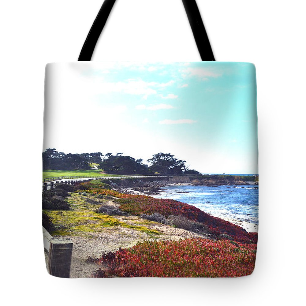 Golf Course Tote Bag featuring the digital art 17 Mile Drive Shore Line II by Barbara Snyder