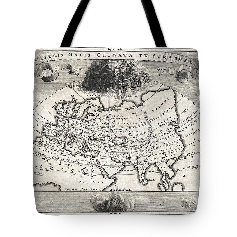 A Rare And Beautifully Engraved Map Of The Old World Divided Into Seven Climatic Zones According To The Ancient Greek Geographer Strabo. Depicts Europe Tote Bag featuring the photograph 1700 Cellarius Map Of Asia Europe And Africa According To Strabo by Paul Fearn