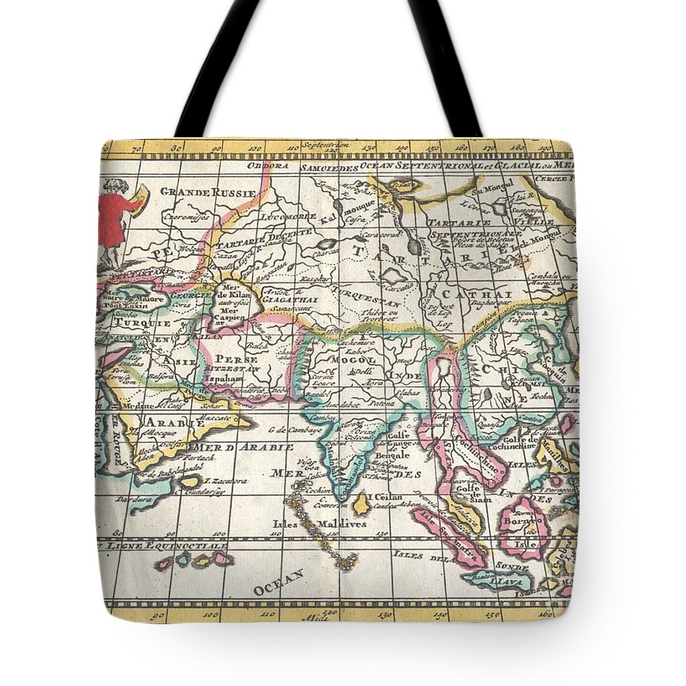 A Very Scarce Tote Bag featuring the photograph 1706 De La Feuille Map Of Asia by Paul Fearn