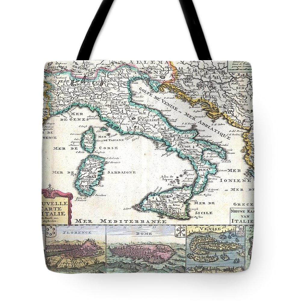 A Very Scarce Tote Bag featuring the photograph 1706 De La Feuille Map Of Italy by Paul Fearn