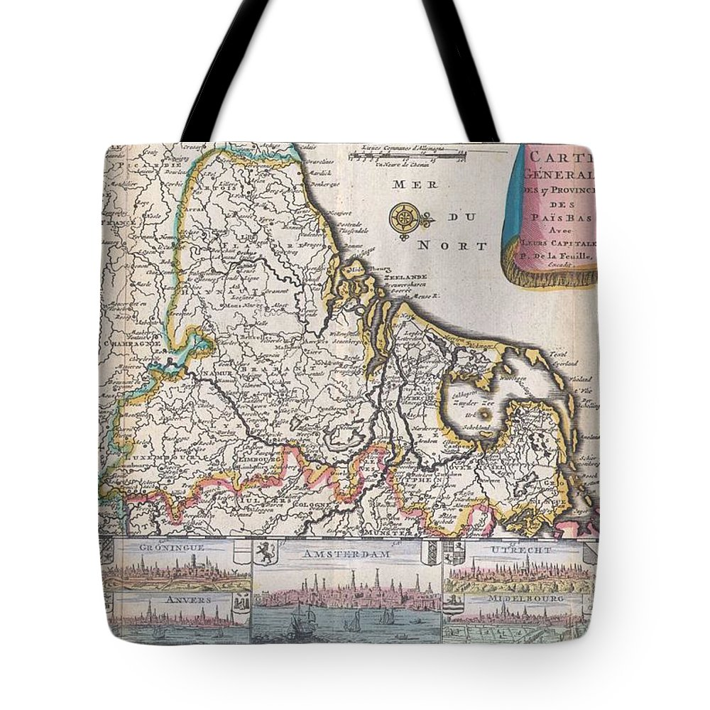 A Very Scarce Tote Bag featuring the photograph 1710 De La Feuille Map Of The Netherlands Belgium And Luxembourg by Paul Fearn