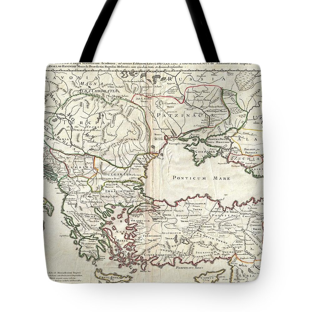 A Very Attractive C. 1715 Example Of Guillaume De L'isle's Map Of The Eastern Roman Empire Under Constantine (c. 330 Ad). Depicts From Eastern Italy And Sicily Eastwards As Far As The Black Sea Tote Bag featuring the photograph 1715 De Lisle Map Of The Eastern Roman Empire Under Constantine by Paul Fearn