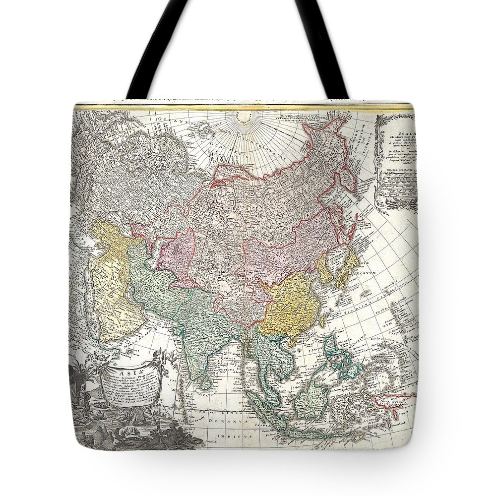 A Fabulously Detailed 1744 Homann Heirs Map Of The Asian Continent Tote Bag featuring the photograph 1744 Homann Heirs Map Of Asia by Paul Fearn