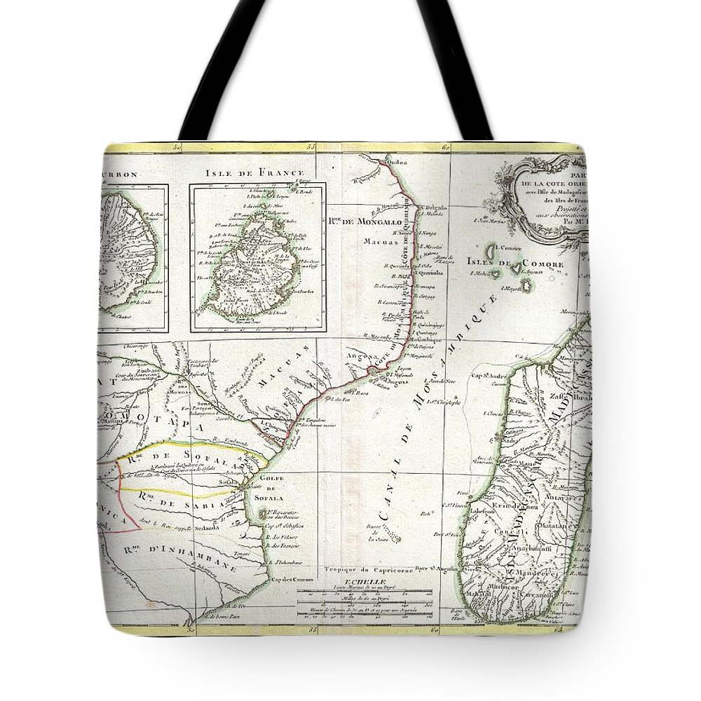 Map Of Africa Madagascar.1770 Bonne Map Of East Africa Madagascar Isle Bourbon And Mauritius Tote Bag