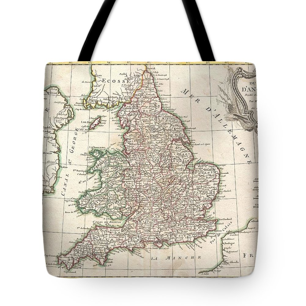 A Beautiful Example Of Rigobert Bonne's 1771 Decorative Map Of England And Wales. Covers All Of England And Wales As Well As Parts Of Adjacent Scotland Tote Bag featuring the photograph 1772 Bonne Map Of England And Wales by Paul Fearn