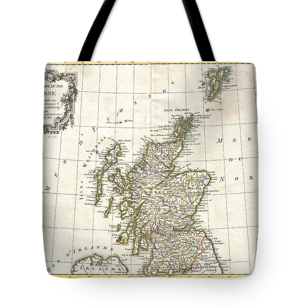 Tote Bag featuring the photograph 1772 Bonne Map Of Scotland by Paul Fearn