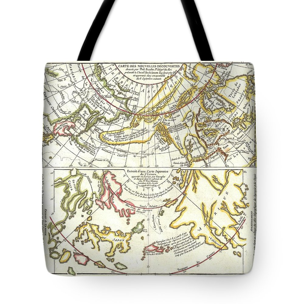 Tote Bag featuring the photograph 1772 Vaugondy Diderot Map Of Alaska The Pacific Northwest And The Northwest Passage by Paul Fearn