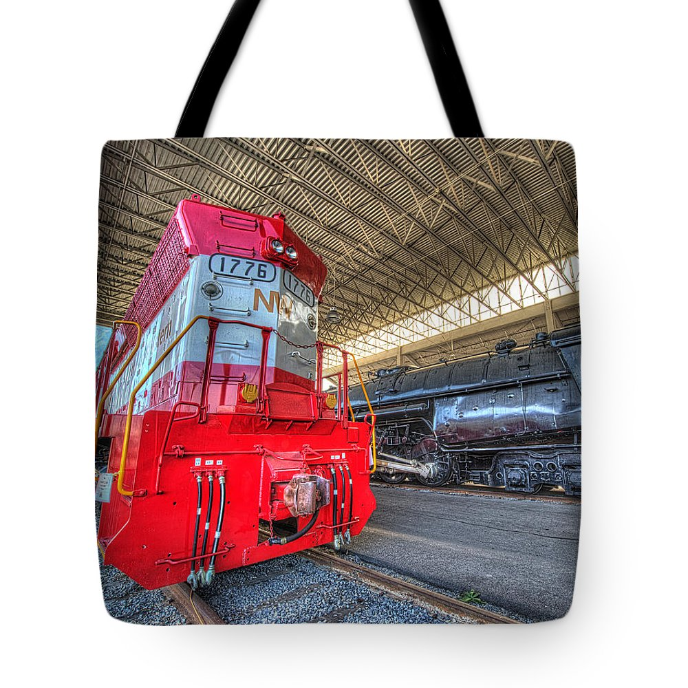 Historic Tote Bag featuring the photograph 1776 And 1218 Locomotives Norfolk And Western by Greg Hager