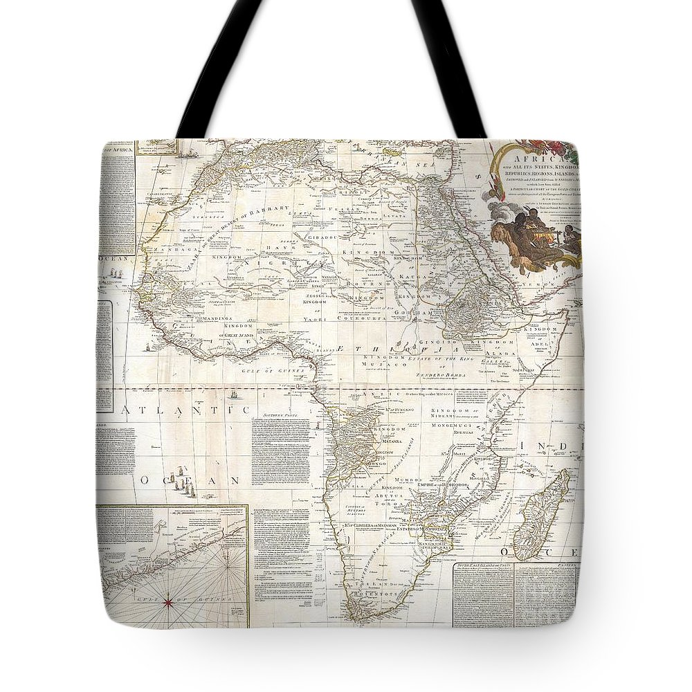 This Is Most Likely The Most Important Map Of Africa Produced In The 18th Century. Printed At The Height Of The Slave Trade In 1787 By The Robert Sayer Firm Of London Tote Bag featuring the photograph 1787 Boulton Sayer Wall Map Of Africa by Paul Fearn