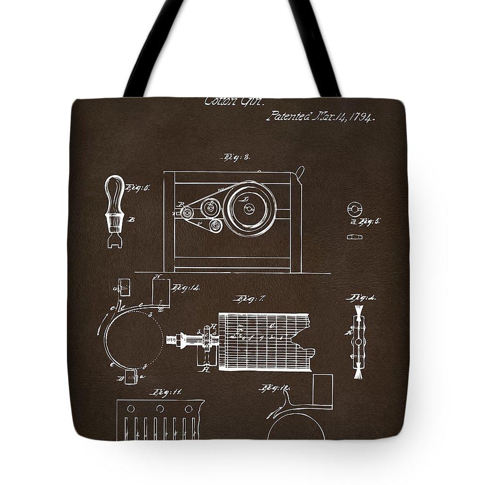 Eli Whitney Tote Bag featuring the digital art 1794 Eli Whitney Cotton Gin Patent 2 Espresso by Nikki Marie Smith