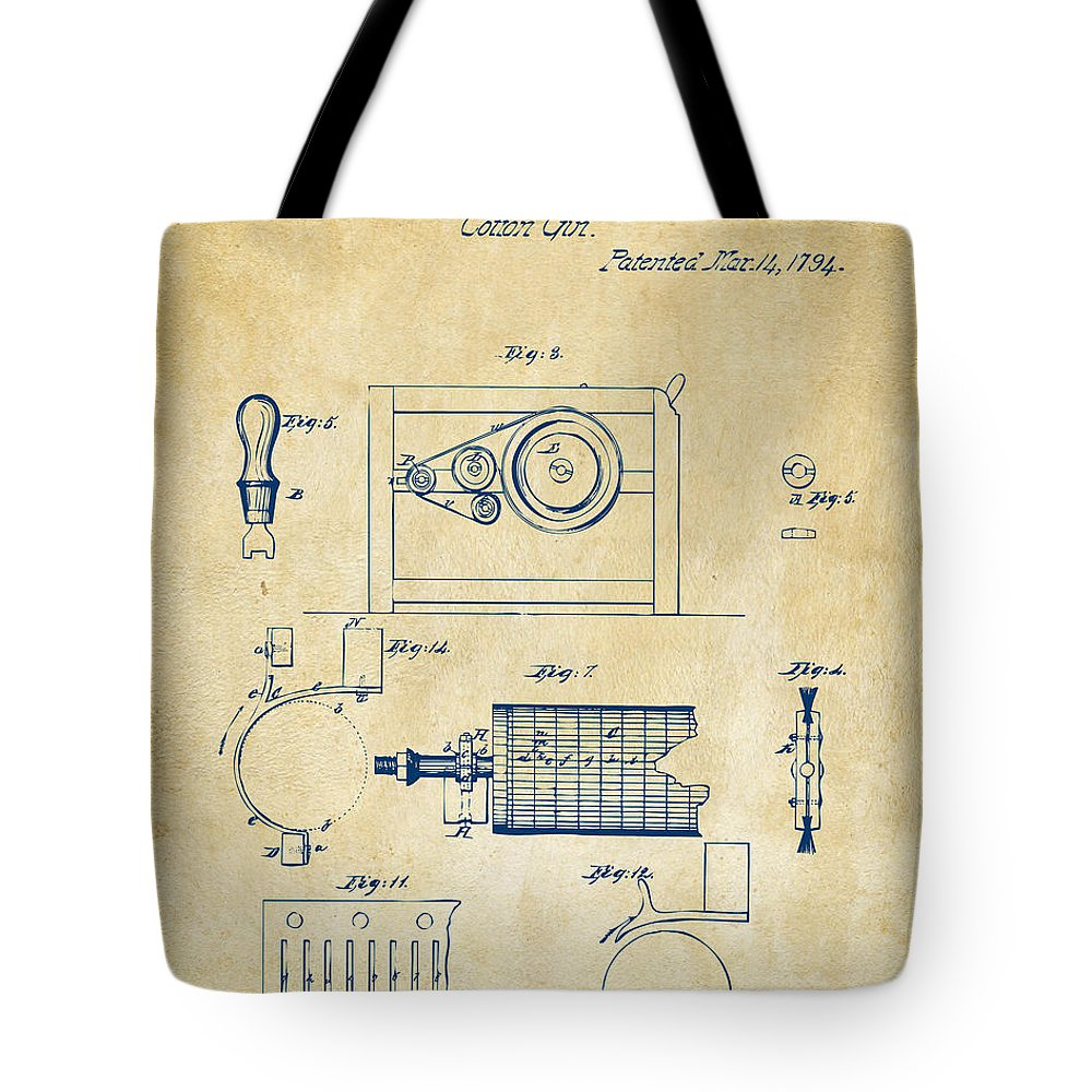 1794 eli whitney cotton gin patent 2 vintage tote bag for sale by