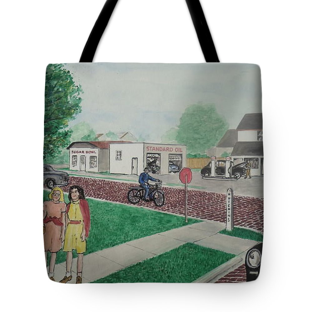 17th Street Hutchins Street Portsmouth Ohio Rases Sohio Station 6th Graders Hiighland School Old Men Croquet Sugar Bowl Tote Bag featuring the painting 17th And Hutchins Street Portsmouth Ohio by Frank Hunter