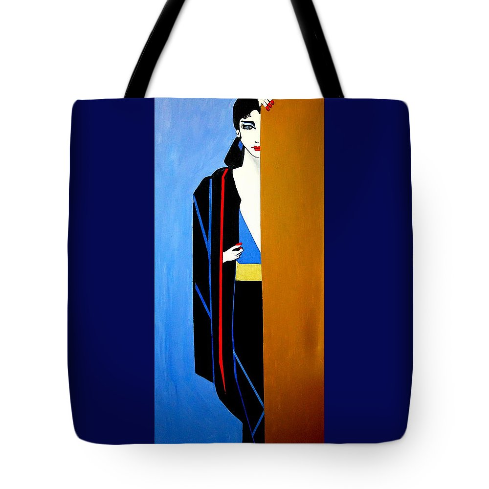 Behind The Door Tote Bag featuring the painting Behind The Door by Nora Shepley