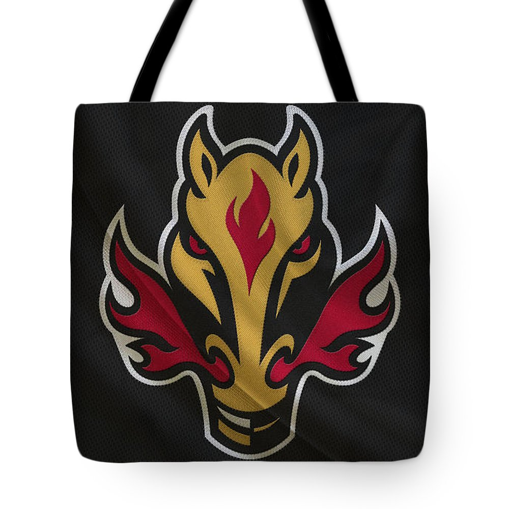 Flames Tote Bag featuring the photograph Calgary Flames by Joe Hamilton