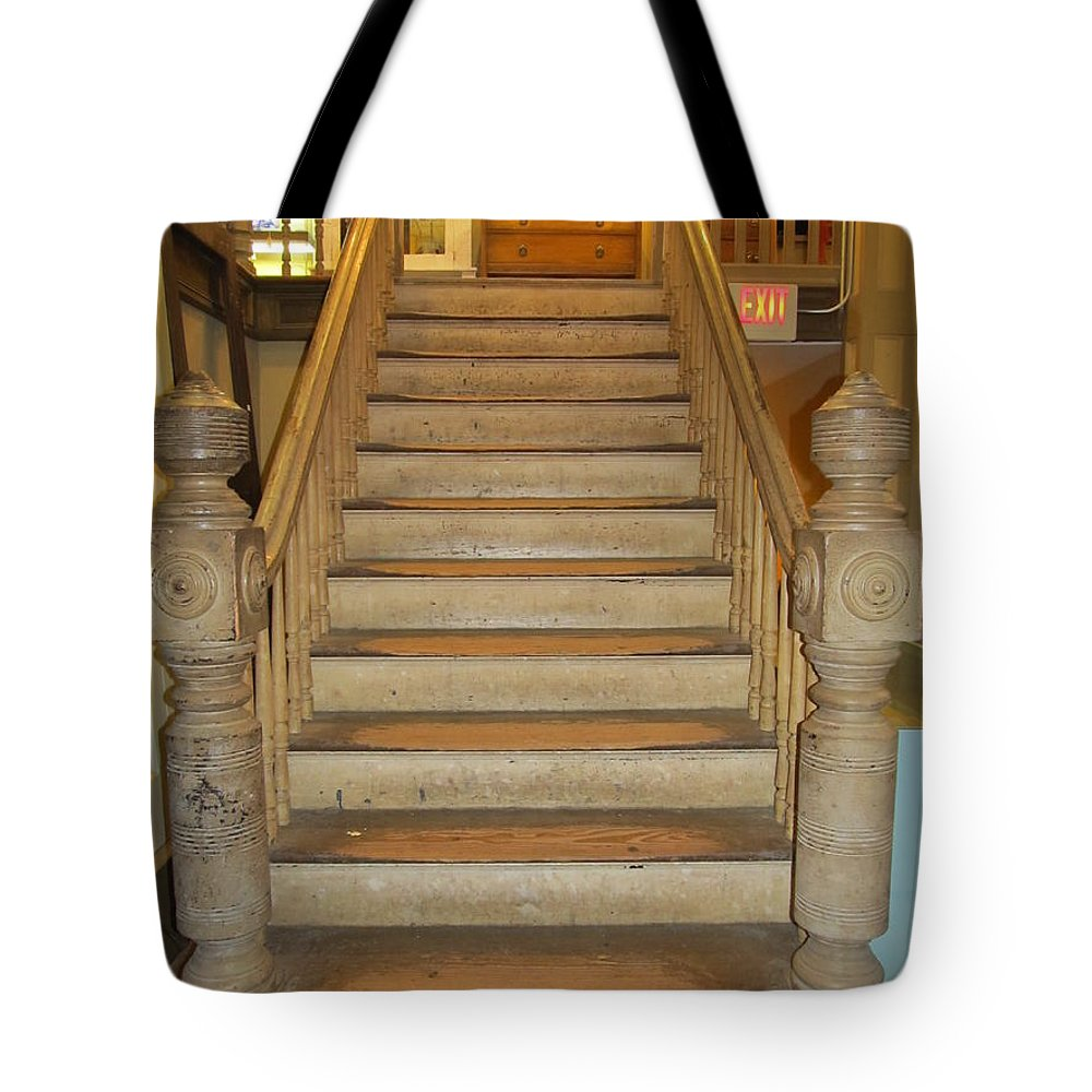 Historical Stairs Tote Bag featuring the photograph 1800's Vintage Stairs by Donna Wilson
