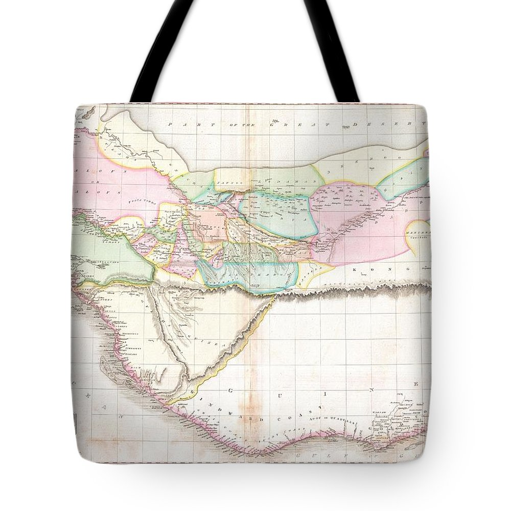 This Fascinating Hand Colored 1818 Map By Edinburgh Cartographer John Pinkerton Depicts Western Africa. Depicts Africa Roughly From The Salve Coast And Gold Coast West Through The Ivory Coast Tote Bag featuring the photograph 1818 Pinkerton Map Of Western Africa by Paul Fearn