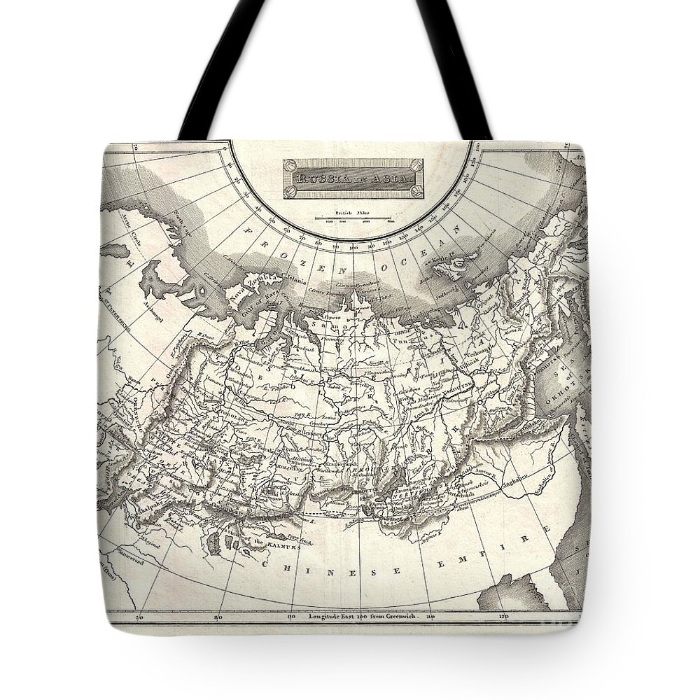 This Is A Fine 1826 Map Of Russia In Asia Tote Bag featuring the photograph 1826 Assheton Map Of Russia In Asia by Paul Fearn