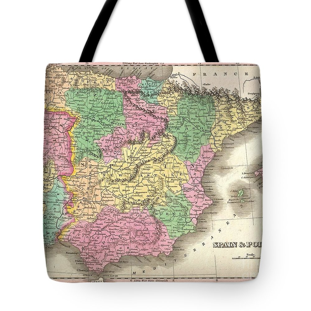 A Beautiful Example Of Finley's 1827 Map Of Spain And Portugal. Covers The Iberia From Cordoba To The Strait Of Gibraltar And From Finisterra To Minorca. Includes The Balearic Island Of Minorca Tote Bag featuring the photograph 1827 Finely Map Of Spain And Portugal by Paul Fearn