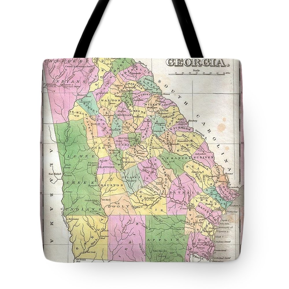A Beautiful Example Of Finley's Important 1827 Map Of Georgia. Depicts The State With Moderate Detail In Finley's Classic Minimalist Style. Shows River Ways Tote Bag featuring the photograph 1827 Finley Map Of Georgia by Paul Fearn