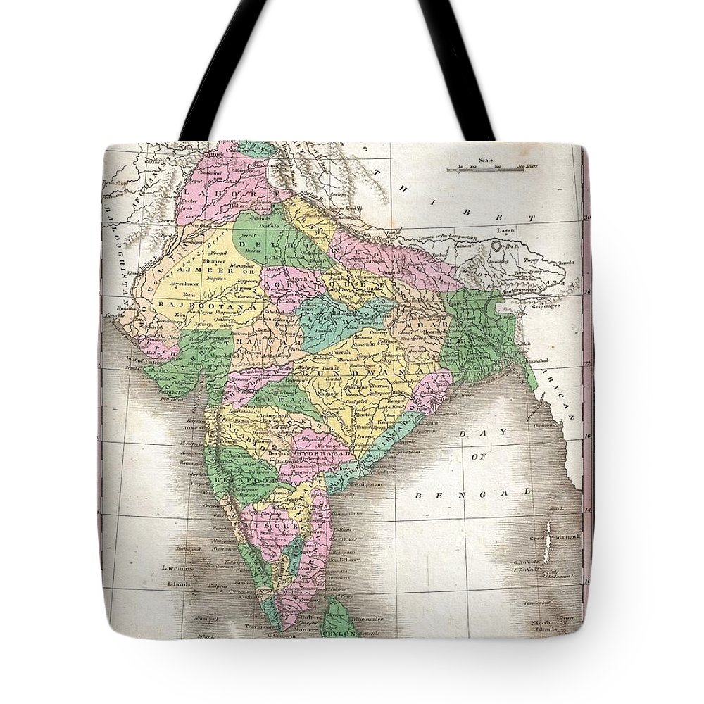 A Beautiful Example Of Finley's Important 1827 Map Of India Or Hindoostan. Covers The Subcontinent From Luddock South To Ceylon (sri Lanka). Identifies Numerous Cities Tote Bag featuring the photograph 1827 Finley Map Of India by Paul Fearn