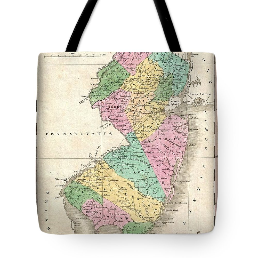 A Beautiful Example Of Finley's Important 1827 Map Of New Jersey. Depicts The State With Moderate Detail In Finley's Classic Minimalist Style. Shows River Ways Tote Bag featuring the photograph 1827 Finley Map Of New Jersey by Paul Fearn