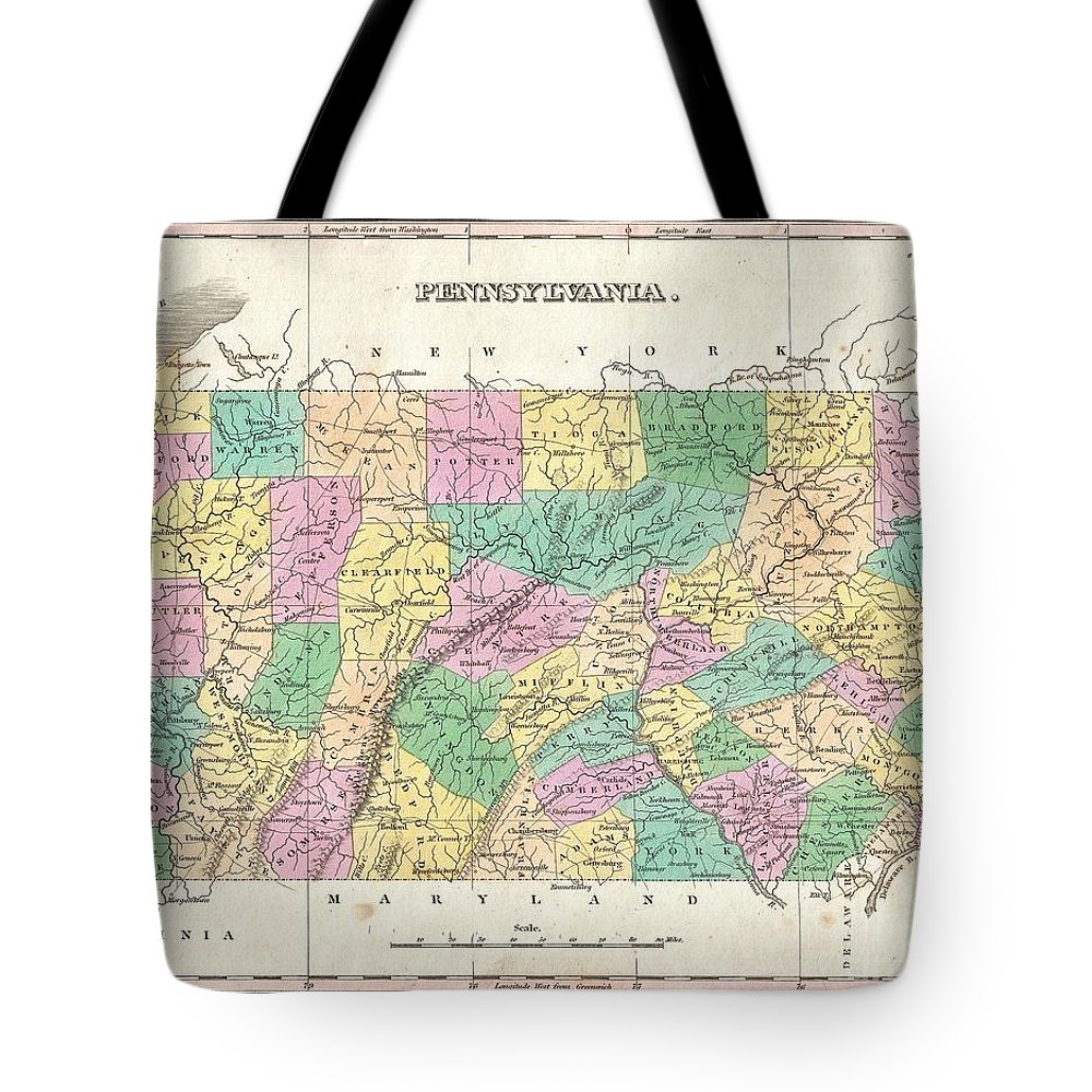 A Beautiful Example Of Finley's Important 1827 Map Of Pennsylvania. Depicts The State With Moderate Detail In Finley's Classic Minimalist Style. Shows River Ways Tote Bag featuring the photograph 1827 Finley Map Of Pennsylvania by Paul Fearn